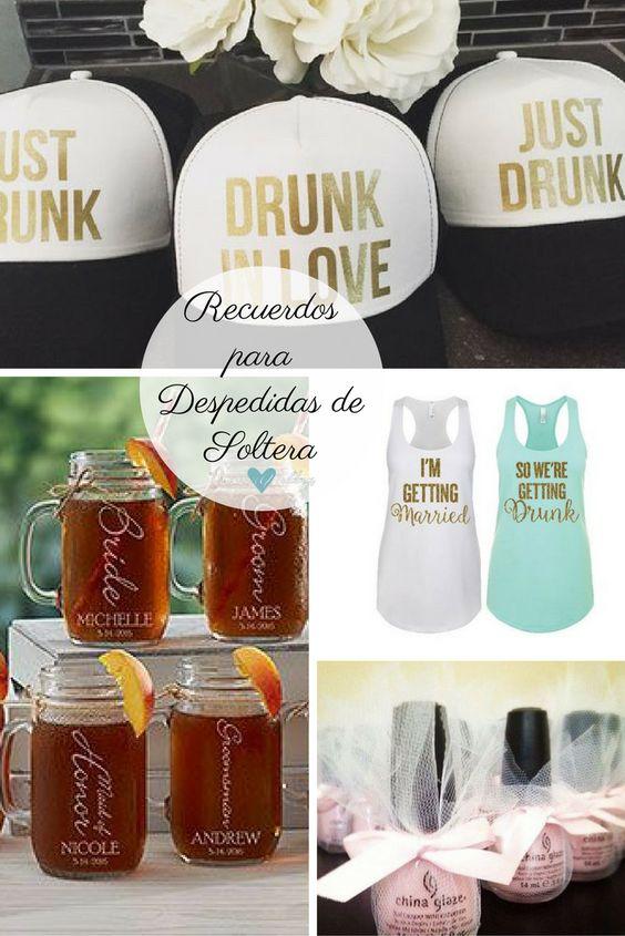 Recuerdos para despedidas de soltera. Gorras personalizadas. T-Shirts personalizadas. Mugs personalizados, uno para cada una! Y un regalito que puedes hacer tu misma con esmaltes!
