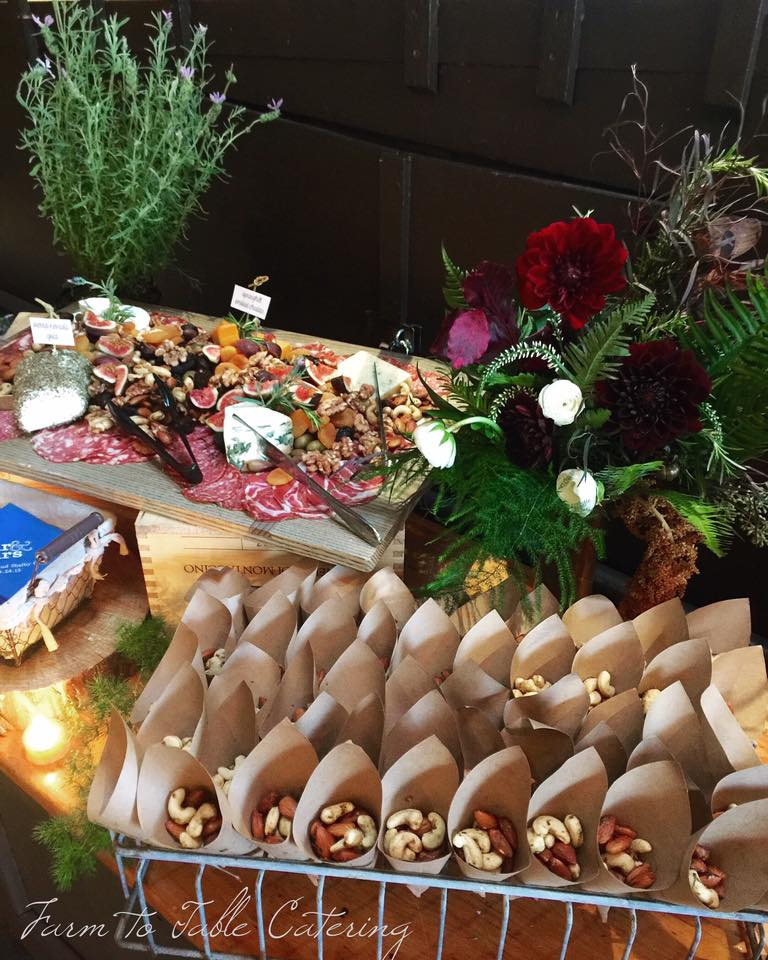 Rosemary roasted nuts and an artisanal California cheese board with Italian dried meats by Farm to Table Catering, Nevada County, serving Nevada City, Grass Valley, Lake Tahoe, Sacramento, and the Gold Country of Northern California.