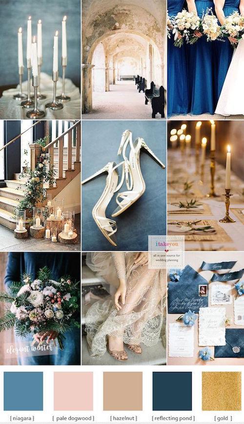 Temática francesa en azul y dorado para una boda elegante. Oh La La!