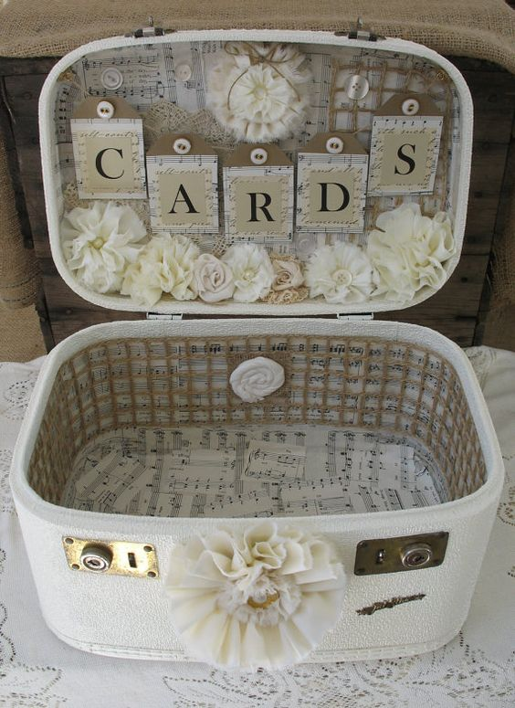Vintage card box suitcase wedding.