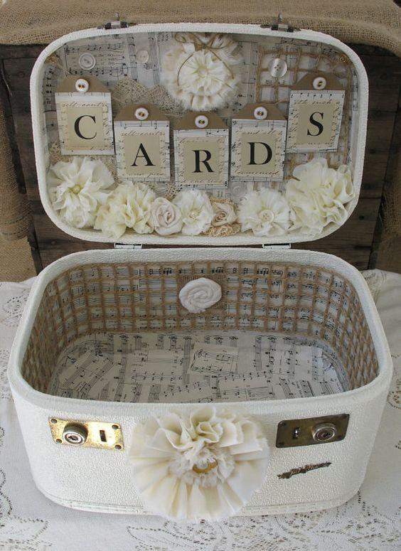 Vintage card box suitcase wedding.