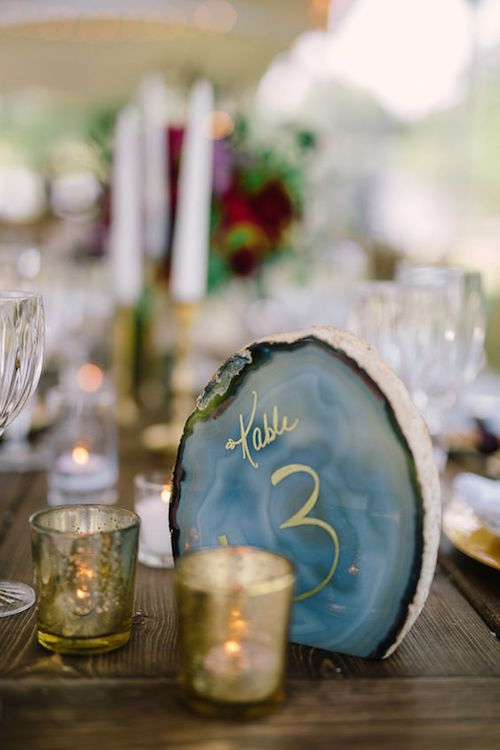 If there is one trend that we are loving these days it's incorporating agates and geodes into your wedding decor. Photography: Harwell Photography.