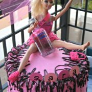 Note her missing shoe! Barbie bachelorette cake with easy chocolate ganache.