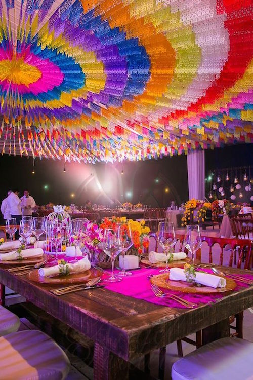 Brightly colored Mexican-themed wedding.
