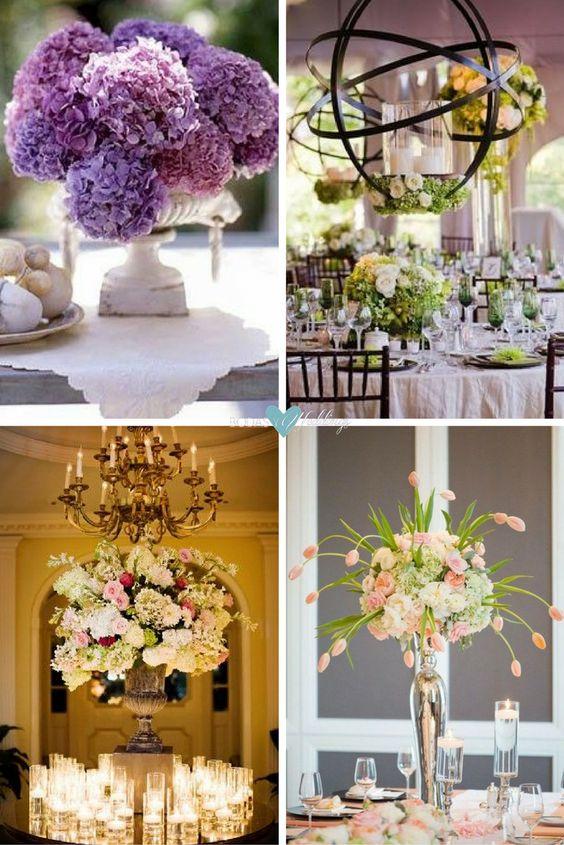 Los centros mesa con hortensias amplifican la textura de la decoración de tu boda con su magnífico color. Independientemente de su tamaño o complejidad, el arreglo floral perfecto es el que te hace parar por un instante y sonreír sorprendida. Arreglo de flores de Elizabeth Anne Designs. Fotografia Julia Franzosa, Diseno floral pistilandvine.