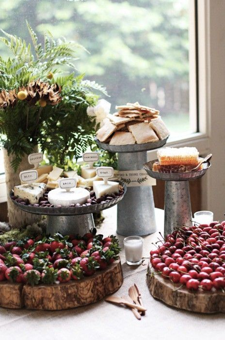 Farm to Table inspirations: rustic cheese and fruit display.