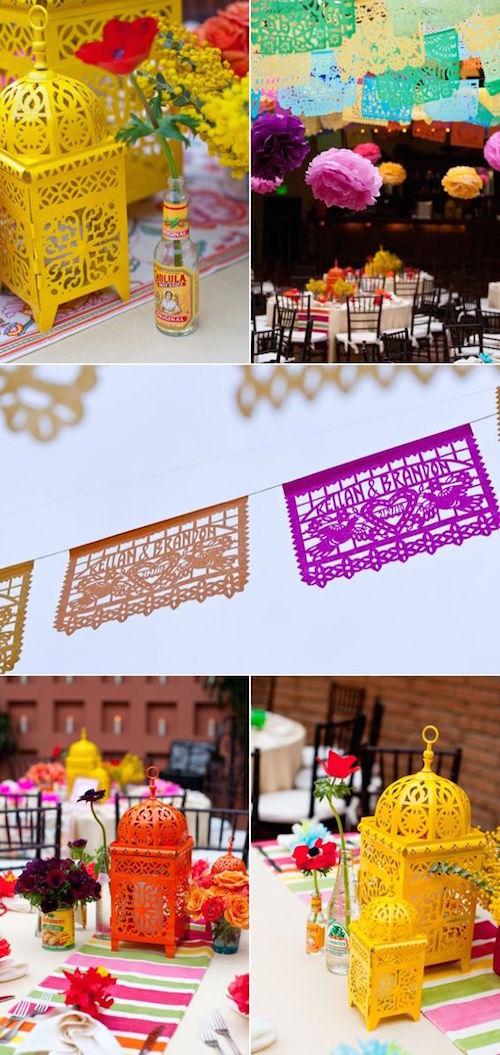 Preciosos y coloridos faroles para esta decoración de boda mexicana.