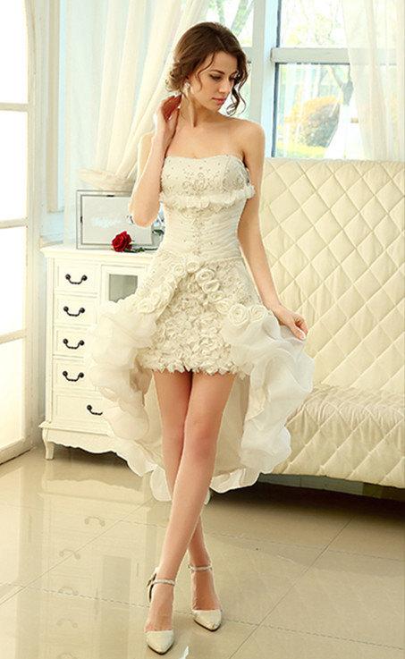 Short A-Line detachable train custom made bridal gown.