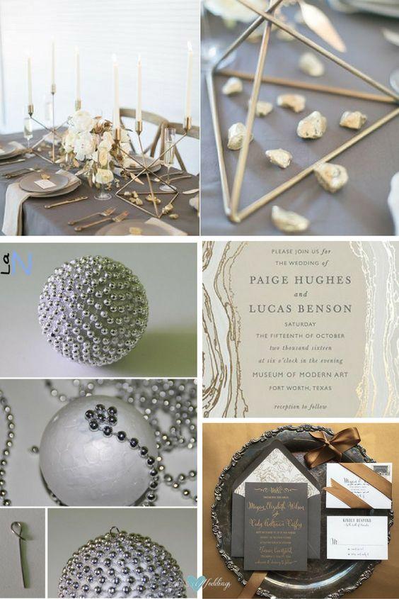 modernas bodas en gris y metalizados con lo ltimo para el los geodos