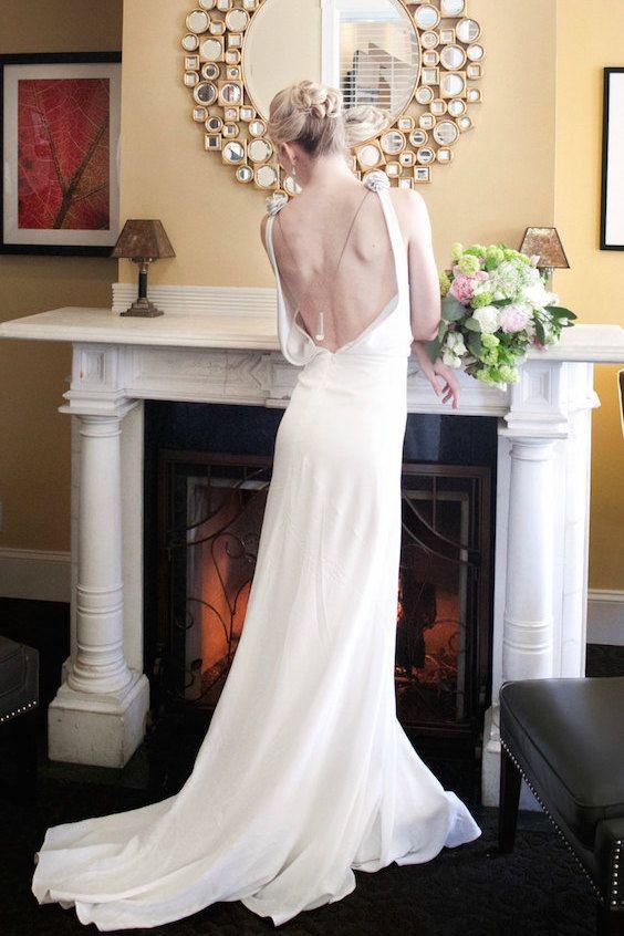 Elegant vintage art deco inspired bias crepe dress for a Gatsby wedding.