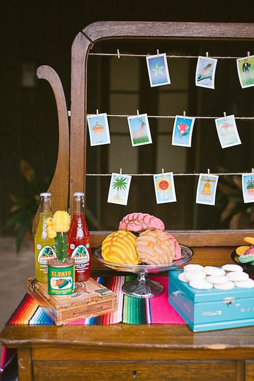 Mexican fiesta wedding inspiration. Love the seating arrangements and the colorful Jarritos.
