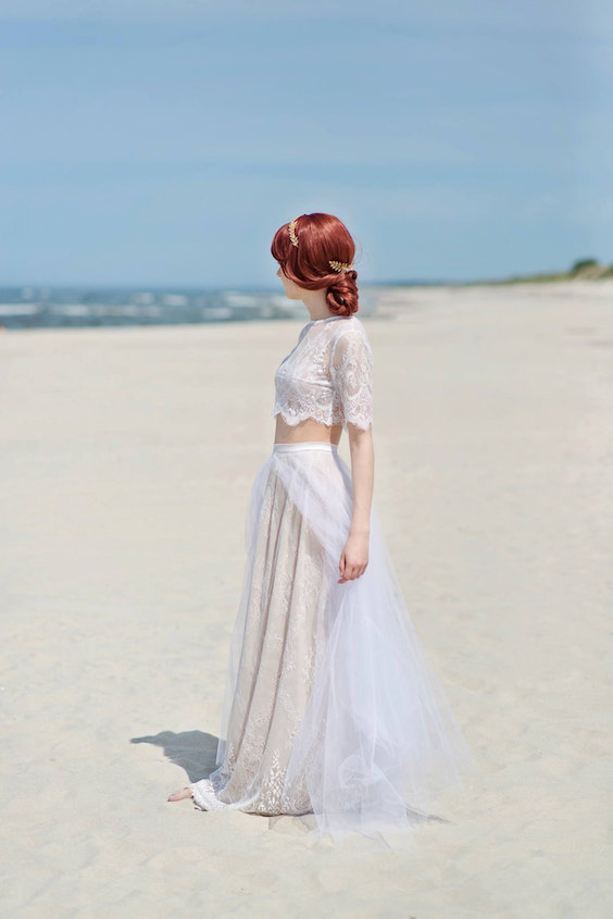 Bohemian lace and tulle flyaway bridal skirt.
