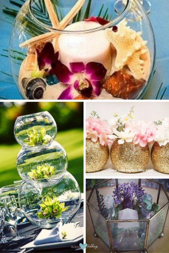 Beautiful and easy centerpiece idea for a beach wedding. Glass wedding centerpieces. Mason jar gold wedding centerpieces. Crystal Garden.