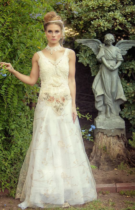 Ivory, brown and white romantic victorian, woodland, rustic bridal gown.