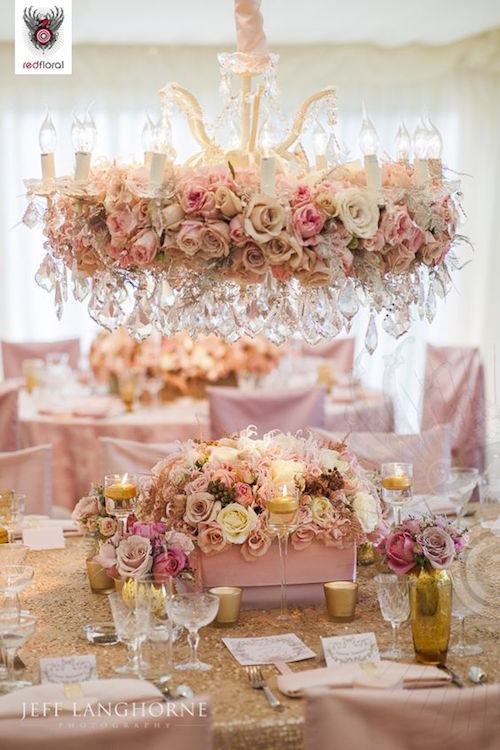 Pure romance on wedding centerpieces and their hanging counterparts.