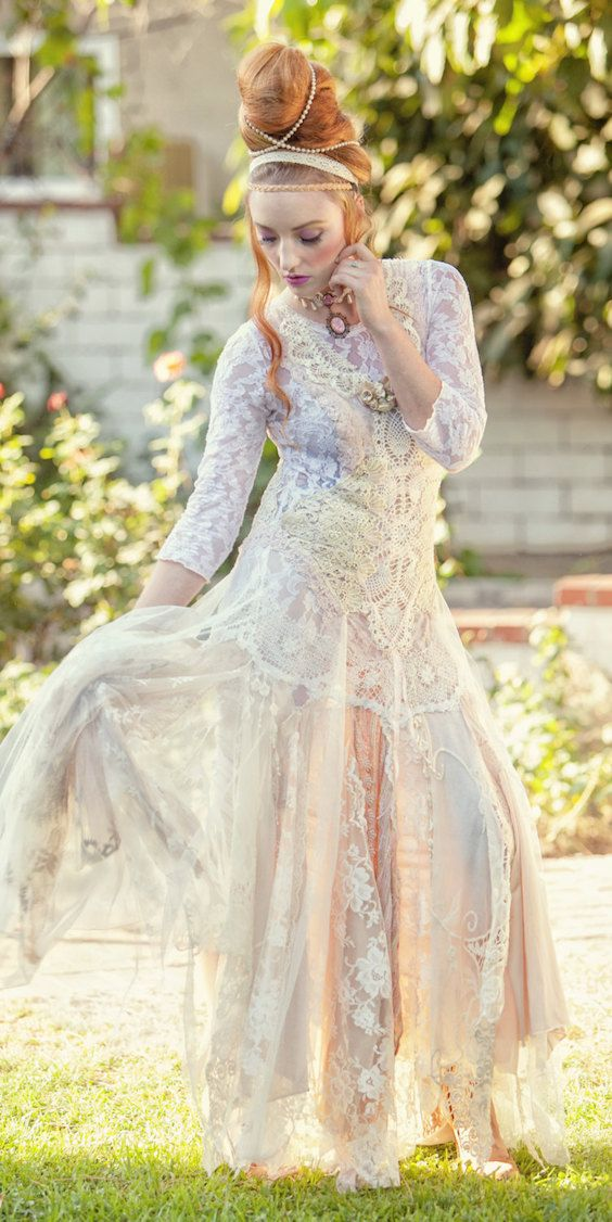 Dusky Pink And Ivory Shabby Chic Woodland Wedding Dress Handmade Adapted Re