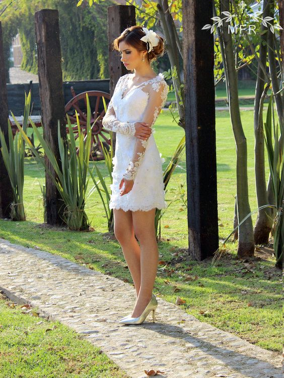 Casual short lace wedding dress with sleeves.