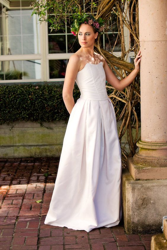 Affordable two piece silk taffeta wedding dress.