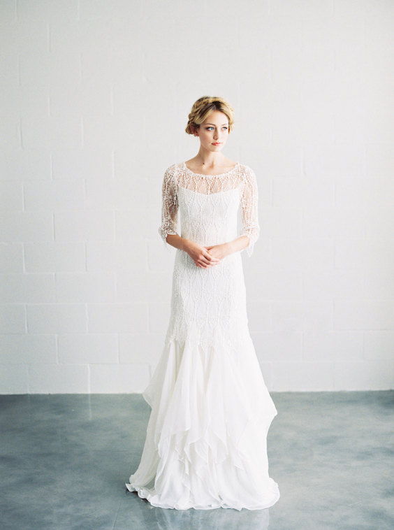 Classic and timeless venice lace & silk wedding gown.