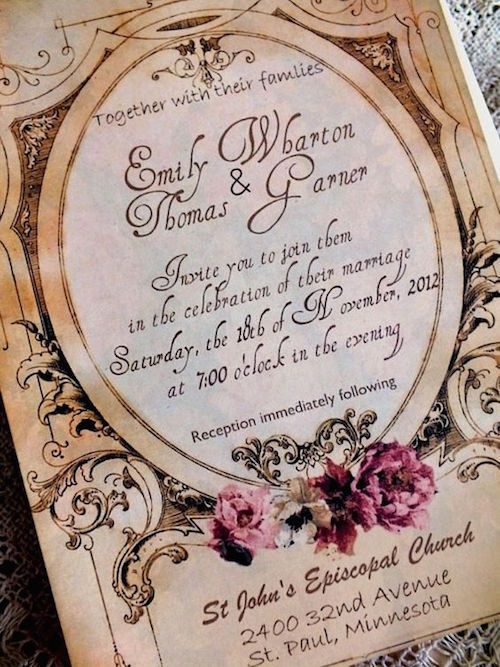 Romantic vintage wedding invitation suite.