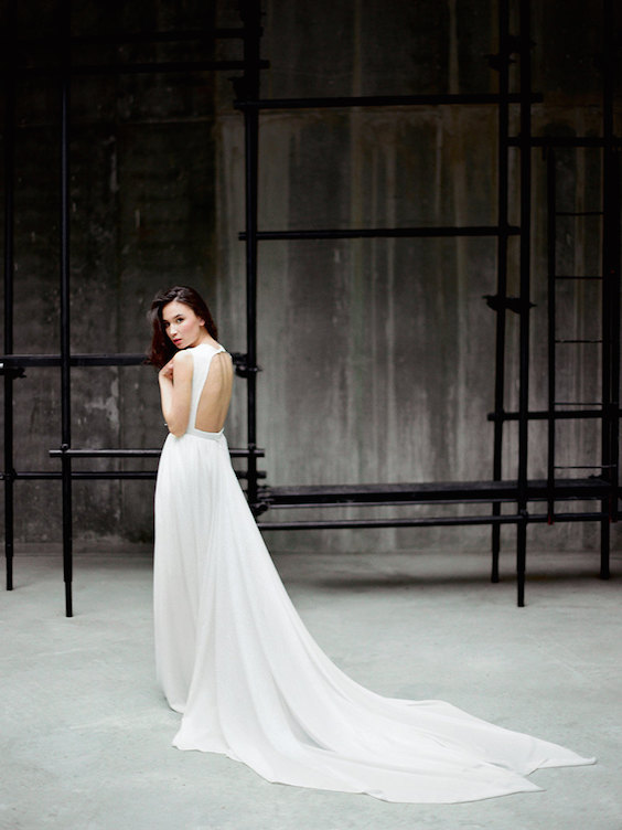 Romantic long chiffon wedding gown with lace and train. I'm in love!
