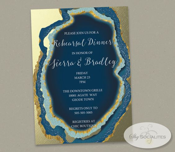 Blue gold foil agate slice wedding invitation.