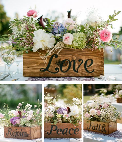 "Wooden box centerpieces. Have each of the ""love is..."" engraved on each box."