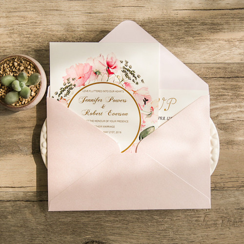 Adorable and romantic floral wedding invitations in pale pink with gold foil