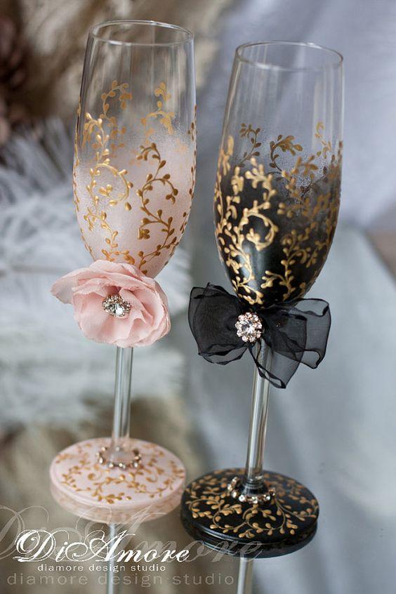 Copas para novios ideas para decorar copas de brindis de for Decoracion de pared para novios