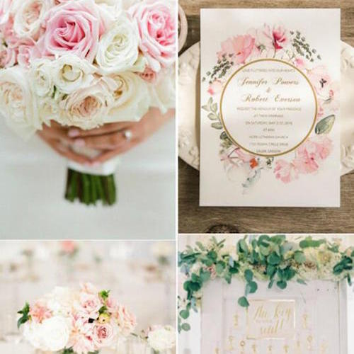 Floral pink and gold foil wedding invitations