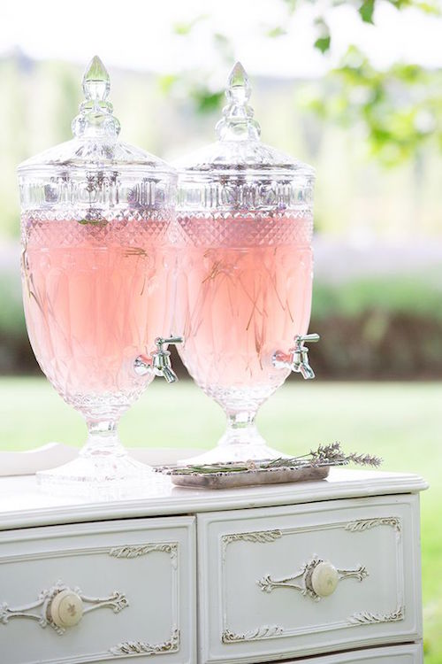 French Provincial wedding inspiration. Cut glass drinks dispensers for the reception. Photo: Agent 86 Photography.