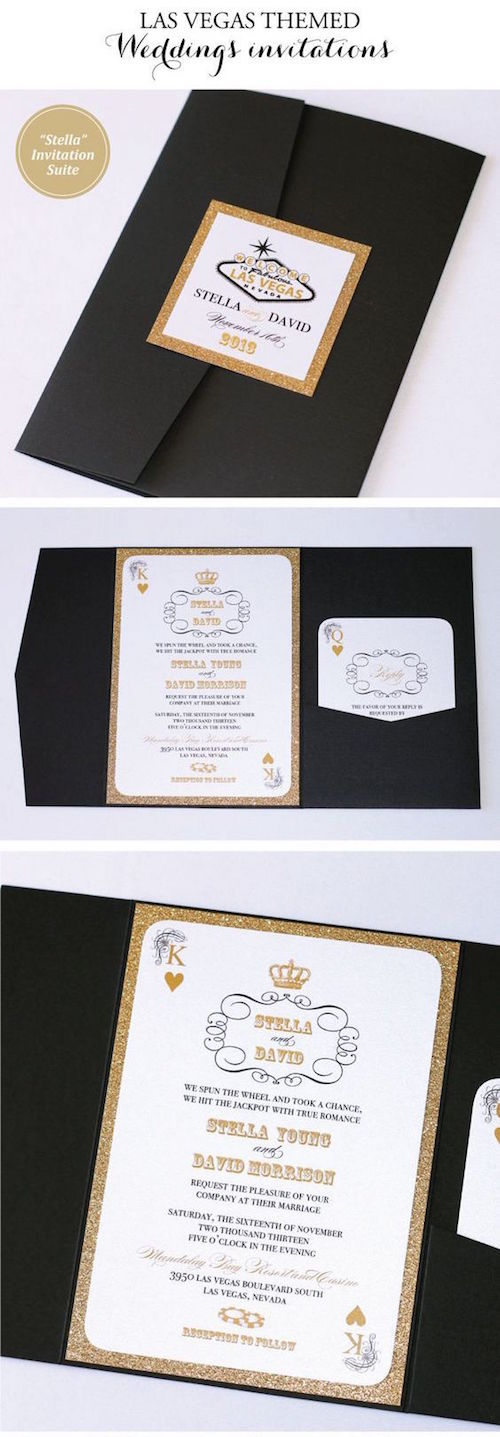 Las Vegas wedding invitations in black, white and gold glitter in pocket fold style.