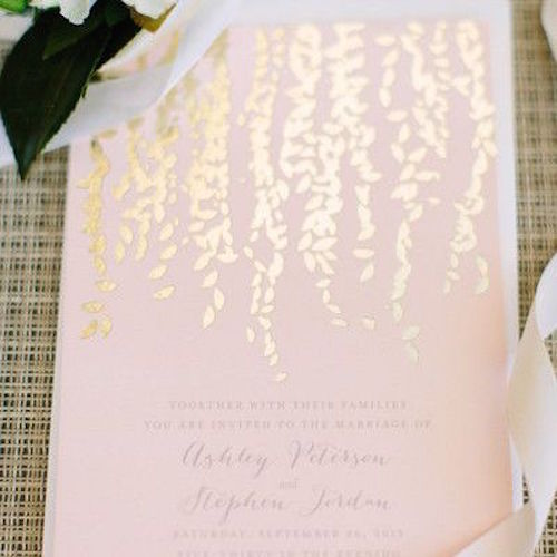 light blush pink gold-foil wedding invitations Photo credit: Megan Clouse Photography