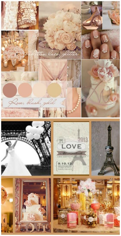 Romantic Parisian styled wedding theme in rose blush and gold.