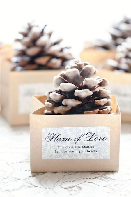 ¿Buscas ese recuerdo perfecto, hermoso, original y económico para tu boda otoñal? Recuerdos para bodas en otoño: un pinecone para encender el fuego.