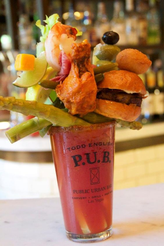 This is what I would call build your Bloody Mary. Not only do you have a choice of premium vodkas, you can have them infused with flavor – like bacon - and the toppings are out of this world. Todd English Pub at Las Vegas.