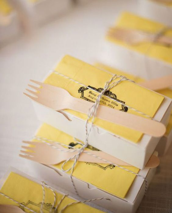 "Unique togo boxes. This is an idea you don't want to miss or it will make you say ""I wish I did that at my wedding!"""