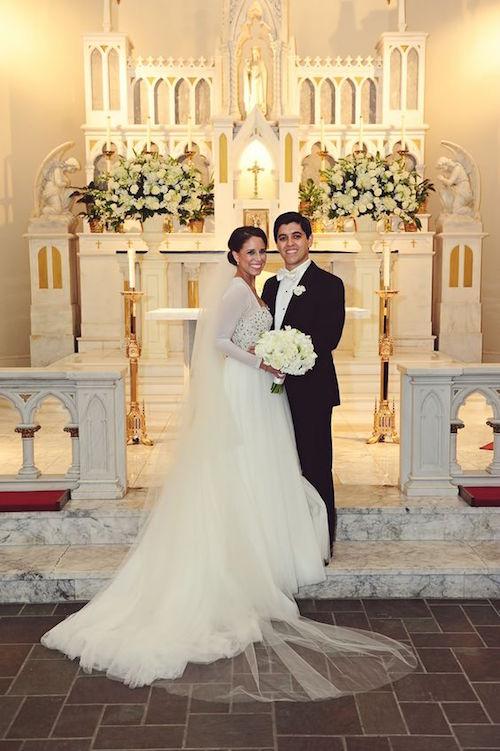 Wedding at St Joseph's Chapel Houston Zoo.