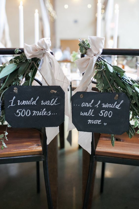 Austin wedding cutest chair decor with the lyrics from The Proclaimers from The Nouveau Romantics + Caroline Joy Photography.