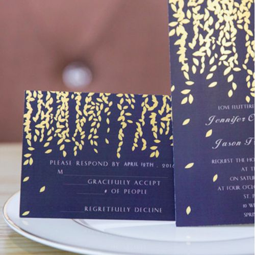 Gold-foil leaf wedding invitations