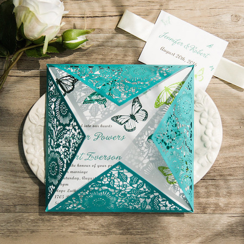 Green teal wedding invitations with butterflies.