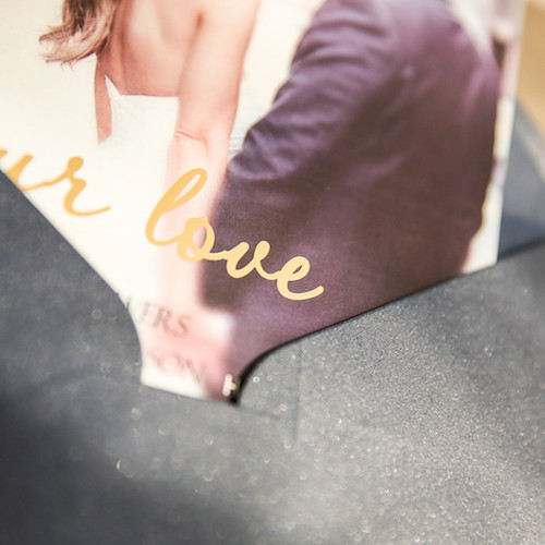 Modern photo gold foil stamped wedding invite.