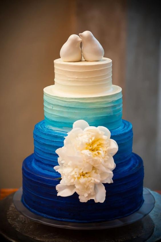 Blue ombre wedding cake by the Barr Mansion.