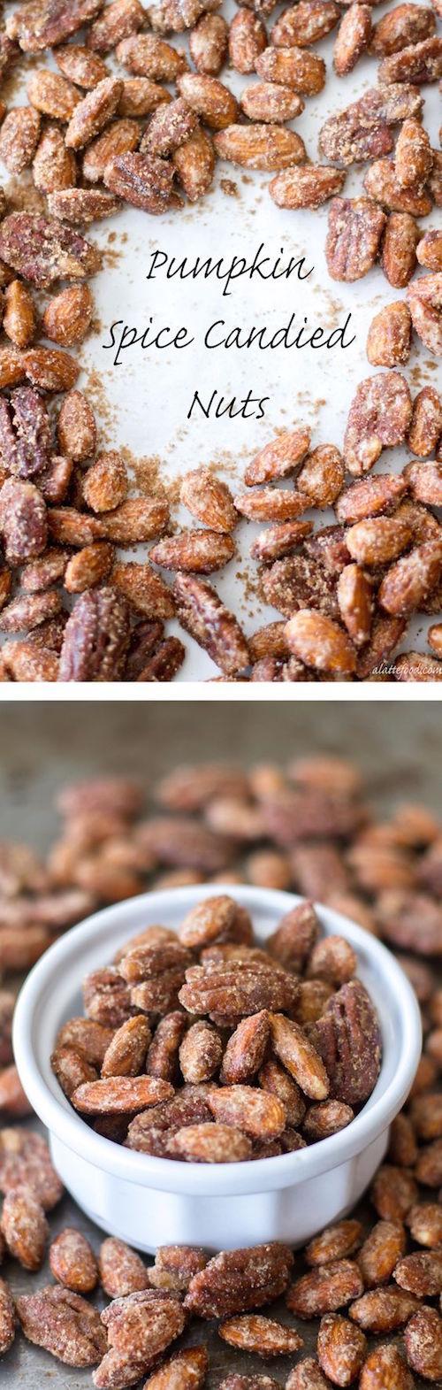 Estas nueces azucaradas son confitadas con una mezcla de especias de pastel de calabaza, azúcar blanca y morena para hacer el recuerdo de bodas comestible más irresistible!