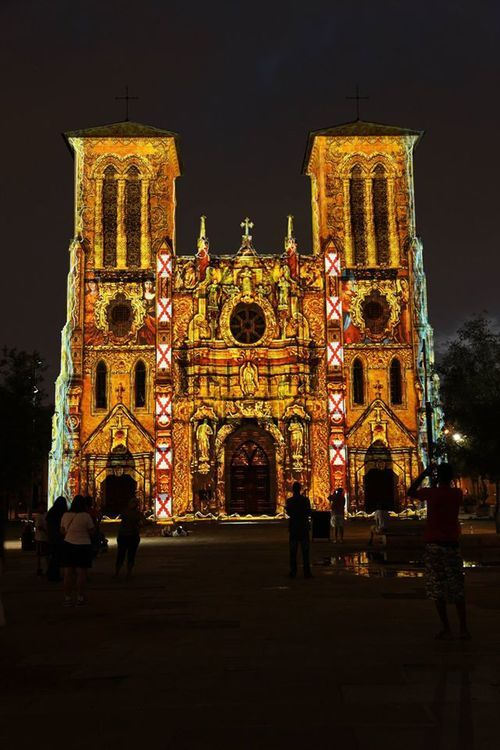 San Antonio Cathedral light show by French artist Xavier De Richemont, in which lights projected onto the Cathedral tell the story of San Antonio from its beginning to today.