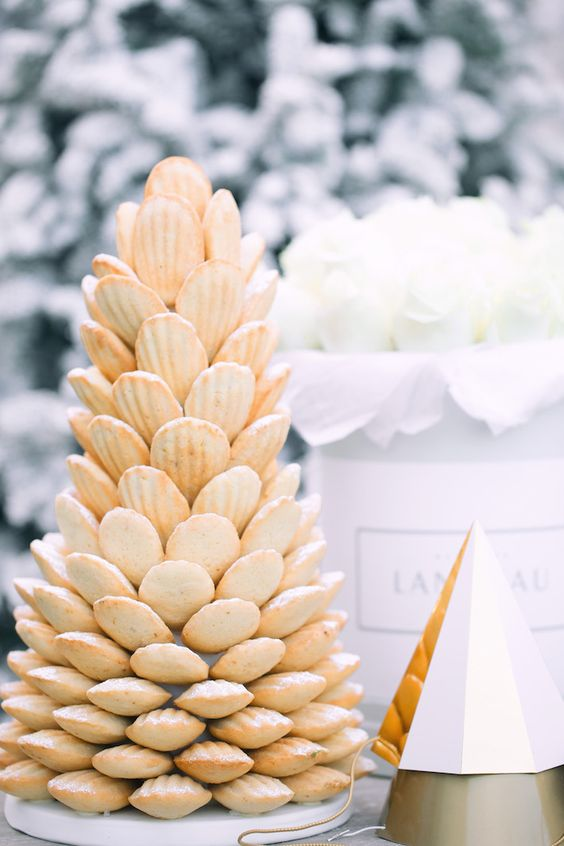 Decorative and yummylicious tower of madeleines. Photography: monikahibbs.