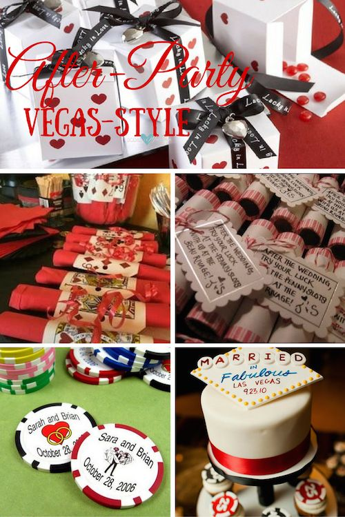 Wedding after-party Vegas-style, baby! Fun guest favor idea if your reception will be at or near a casino! Your guests will not leave with empty pockets when you give them personalized poker chips wedding favors.