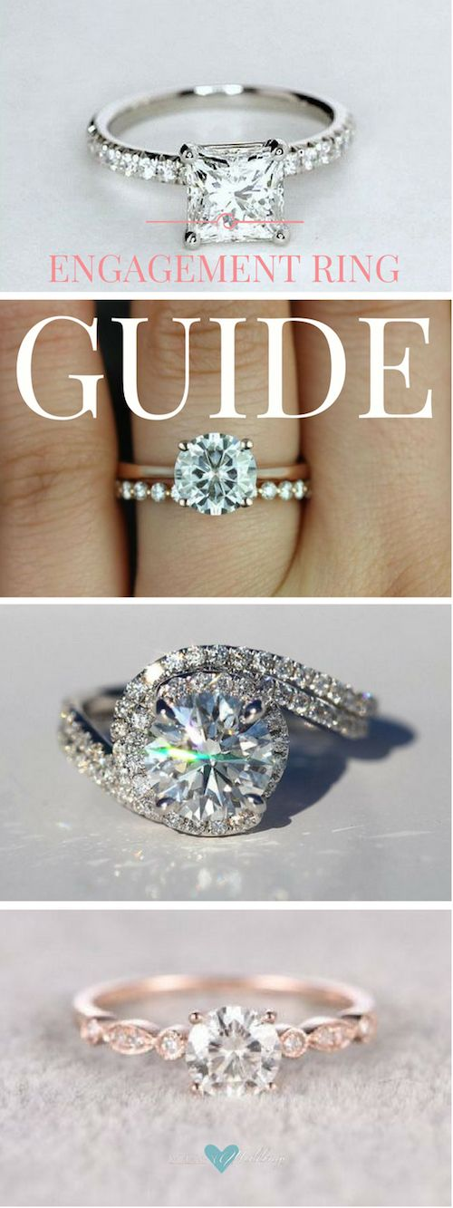 Engagement ring guide: The Anatomy Of An Engagement Ring. Princess cut diamond engagement ring. Swooning over this ring, Ask her to marry you with this stunning pave, halo, diamond engagement ring! Here! Brilliant Moissanite ring in rose gold. Here!