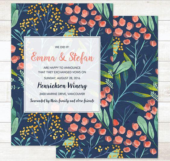Invitación de boda con témperas de inspiración tropical.