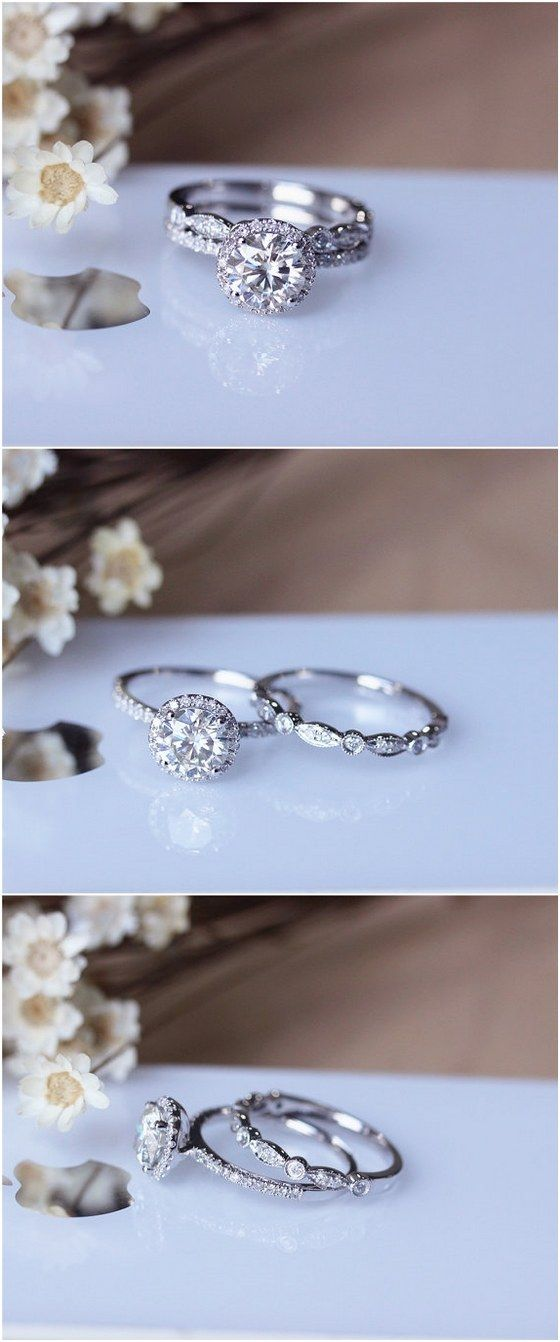 1ct brilliant Moissanite engagement ring set